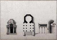 projet d'un temple octogonal, élévation, plan et coupe by giacomo quarenghi