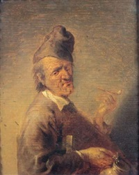 homme assis tenant une pipe et une pinte de bière by jan van de venne