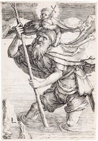 st. christopher with the christ child by lucas van leyden