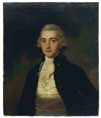 portrait of a gentleman wearing a blue jacket with brass buttons by gainsborough dupont
