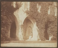 the ancient vestry - the reverend calvert r. jones in the cloisters, lacock abbey by william henry fox talbot