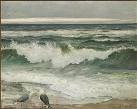 breaking the waves with two seagulls by michael peter ancher