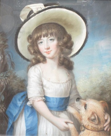 portrait of a girl wearing a hat a pet dog at her side by john russell