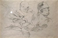 sketch of three men by louis bouché