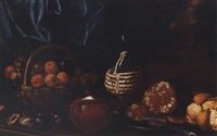 peaches, figs and apples in a basket, an earthenware jar, salame on a pewter plate with a knife, a bottle and bread on a stone ledge, a view to a landscape beyond by cristoforo munari