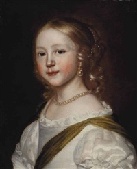 portrait of a girl, bust-length, in a white silk dress and pearl jewelry by sir peter lely