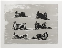 six reclining figures by henry moore