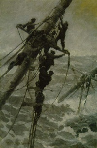 men on rigging of ship by william james aylward