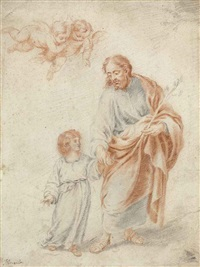 saint joseph and the christ child with putti by bartolomé esteban murillo