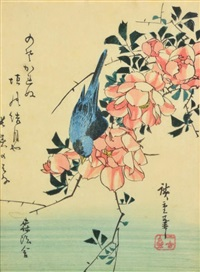 a blue bird and roses by ando hiroshige