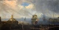 scène de port sous un orage (scène de port sous la neige, pair) by abeille