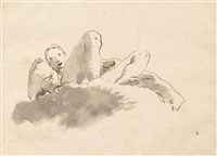 femme sur un nuage tenant une urne by giovanni battista tiepolo
