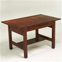 single-drawer library table by gustav stickley