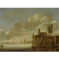 river landscape with a fortified town, a windmill on the right bank, and a rowing boat with figures in the foreground by frans de hulst