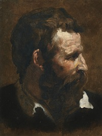 head of a bearded man seen in profile by domenico beccafumi