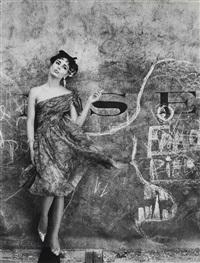 model and graffiti, paris (vogue), 1961 by william klein