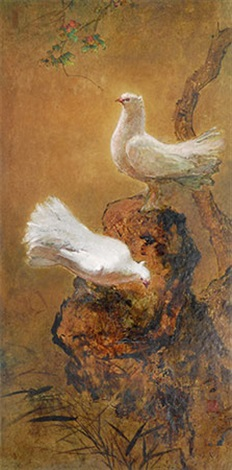一对鸽子 a pair of dove by lee man fong