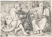 saints peter and paul seated in a landscape by lucas van leyden