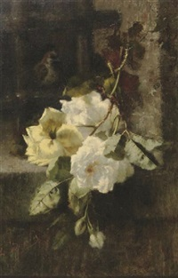 a swag of white and yellow roses by ermocrate bucchi