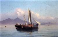 barques de pêcheurs avec pêcheurs napolitains relevant leurs filets by alessandro la volpe