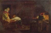 scène galante dans une forge by leonard de france