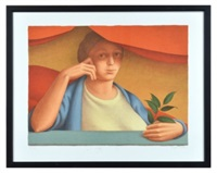 woman with a sprig of laurel by george tooker