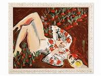 woman in radish field by elvira bach