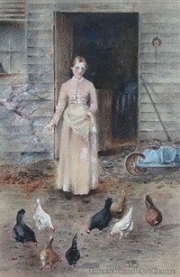 girl feeding poultry by frances mary hodgkins