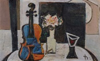 still life with violin and amaryllis by joachim heuer