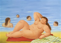 nude on the beach by fernando botero