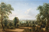 view of melbourne from the botanical gardens by henry c. gritten