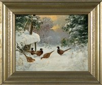 pheasants on snow by otto scheuerer