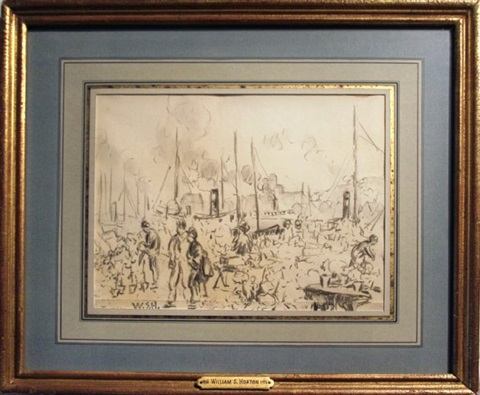 untitled market with ships by william samuel horton