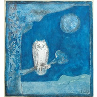 chouette au clair de lune (owl in the moonlight) by françoise gilot