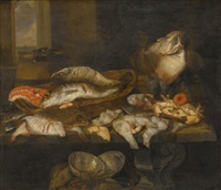 a still life with salmon, plaice, a crab and other fish arranged on a table, a view of the sea beyond by abraham van beyeren