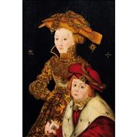 portrait de la princesse sophie et du prince johann de saxe (?) by franz wolfgang rohrich