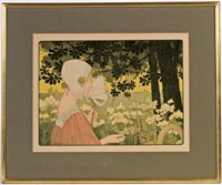 la brodeuse - la fileuse (set of 2) by henri privat-livemont
