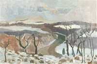 tweed valley in snow by earl george alexander eugene douglas haig