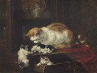 kittens playing by henriette ronner-knip