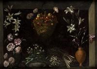 bodegón con flores, hortalizas y un cesto de cerezas by juan (fray) sanchez y cotan