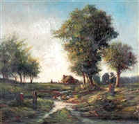 paysage à la rivière animé de personnages by camille flers