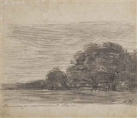 field with oak trees at dusk by piet mondrian