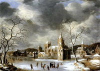 a castle on a frozen lake with skaters by abraham beerstraten