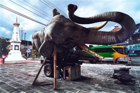 sleeping elephant in the axis of yogyakarta sultans palace square by wimbo ambala bayang