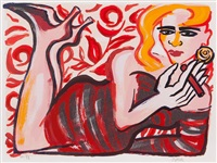 reclining woman by elvira bach