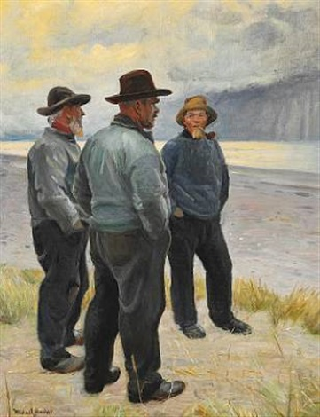three fishermen on skagen beach by michael peter ancher