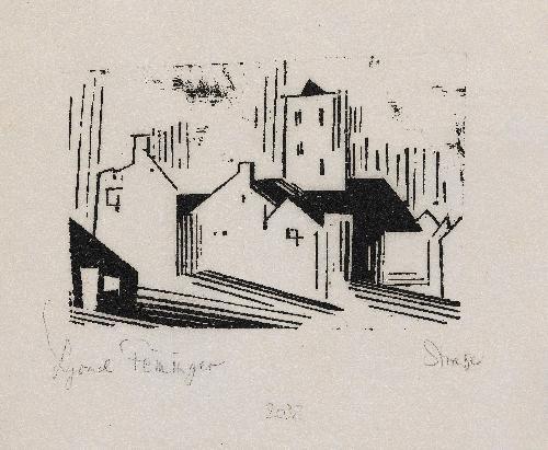 straße belgische stadt pl7 from 10 holzschnitte von lyonel feininger by lyonel feininger