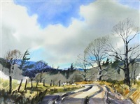 country road with trees and mountains by brian atyeo