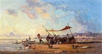 musiciens et danseurs près des barques de pêche by paul bistaagne