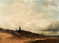 paysage aux moulins et paysan by georges michel